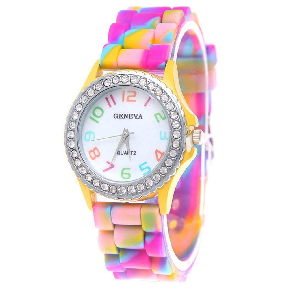 bunte Tarnung Druckdiamantkristall Frauendamen kleiden beiläufige Kursteilnehmer Großhandel Mode weibliche Armbanduhr Uhr Quarzuhr