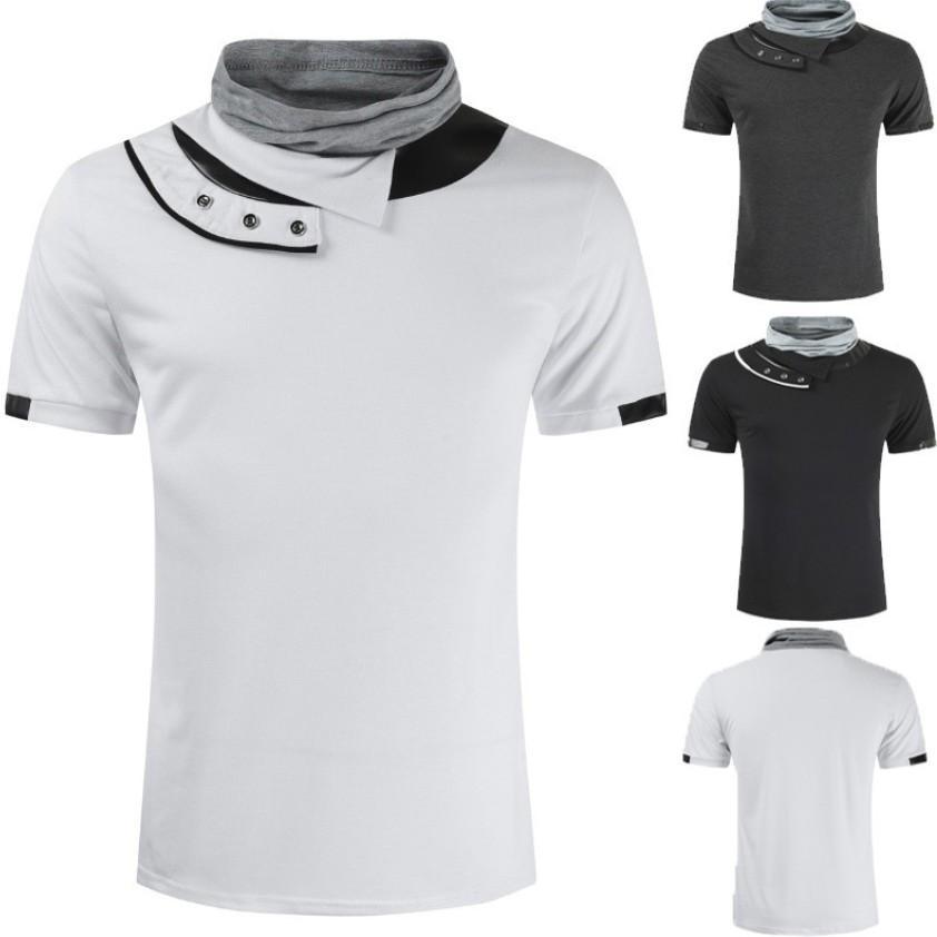 Il progettista del mens magliette 2020 nuovo solido Mucchio colletto della camicia PU splicing Moda Uomo 100% cotone T-shirt manica corta T di estate maglietta Tops