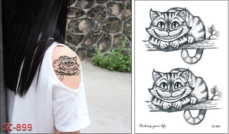 Acheter Autocollant De Tatouage Temporaire étanche Alice Au Pays Des Merveilles Cheshire Chat Rire Mignon Tatouage Flash Faux Tatouage Pour Filles