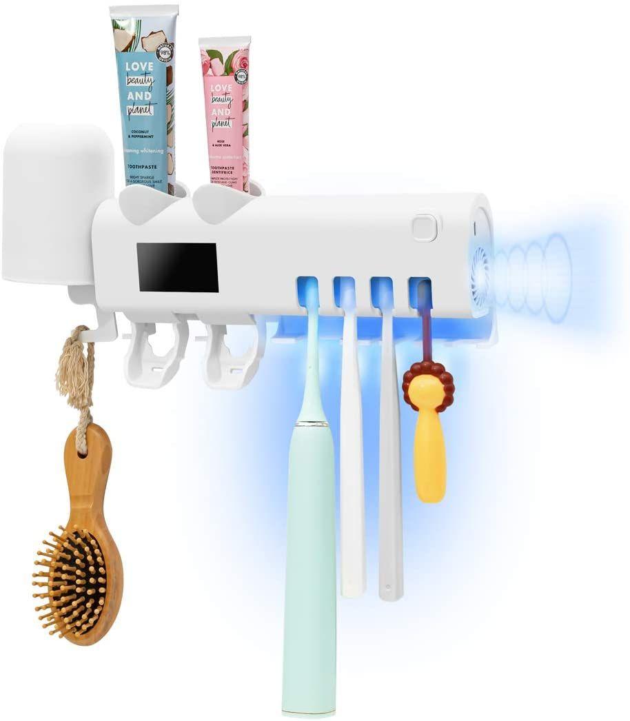 الأشعة فوق البنفسجية فرشاة الأسنان المطهر مع 2 الصيدلي معجون الأسنان، يعلق على فرشاة الأسنان حامل ستريت مع المطهر وظيفة، بطارية 2000mAh شحن فرشاة الأسنان