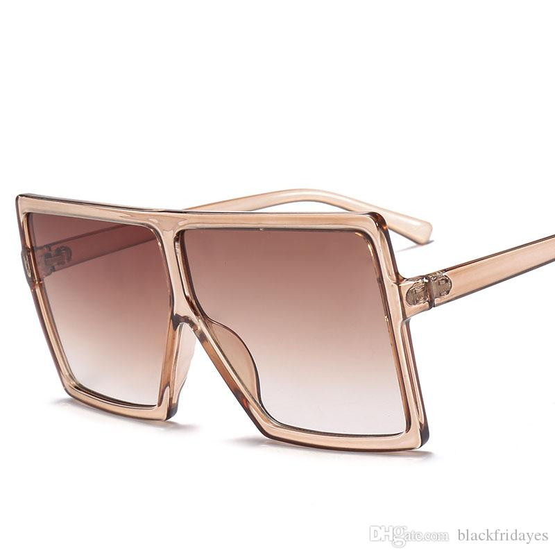 Lüks Tasarımcı Büyük Çerçeve Degrade Tonları Boy Güneş Gözlüğü Kare Marka Tasarımcı Vintage Kadınlar Moda Güneş Gözlükleri
