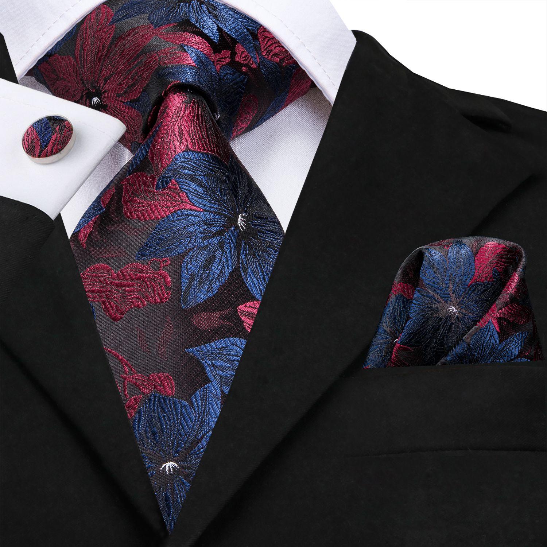 Привет-галстук красно-синий цветочный галстук набор 8.5 см в ширину 100% шелковые галстуки ручной работы для мужчин роскошная вечеринка свадьба N-3125