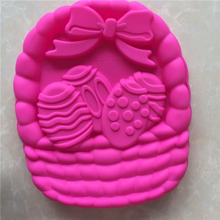 28 * 24 * 4.5cm forma de cesta Huevos torta del molde de silicona Pascua Forme para la hornada Horno Microware la torta del molde para hornear pasteles