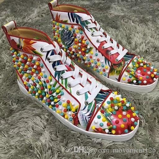 Новый оптовый Высокое качество люкс Шипы из натуральной кожи мужские тапки обувь Мода Red Bottom Женщины Конструкторы Повседневный Louisflats Размер 35-46