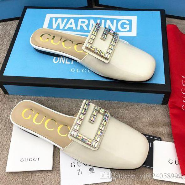 2019 spring new spring new womens slippers, design womens fashion flat slippers, horselength slippers Loafers outdoor really leather qy