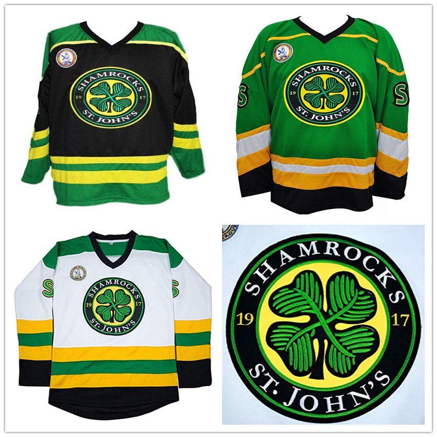 Shamrocks Rétro hockey sur mesure St.John Maillot Vert Blanc Noir Ross Patron # 3 Rhea jersey broderie Cousu tout numéro Votre nom Personnaliser