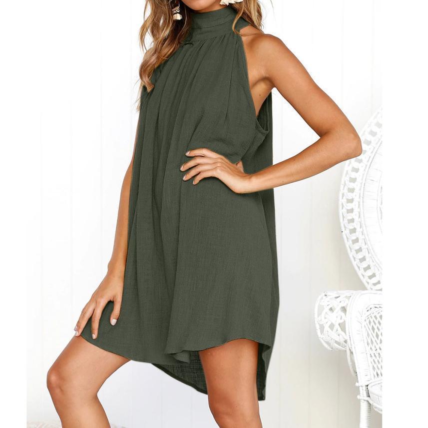 4a7c79d8690 Women Linen Tank Dress Sleeveless Turtleneck Casual Loose A Line ...