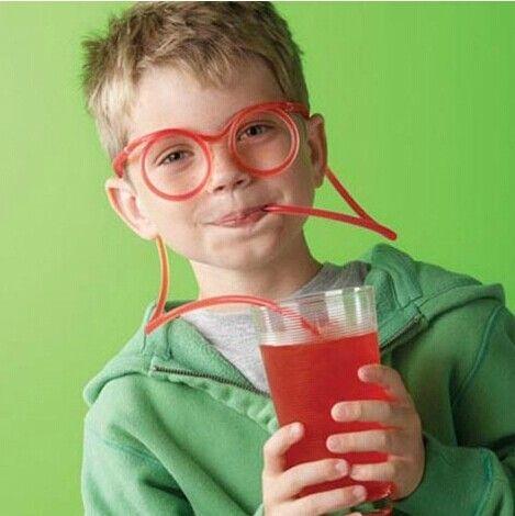 8 ألوان طفل مضحك نظارات سترو عيد ميلاد الحزب القش DIY الطفل الجدة شرب لوازم سترو جديد