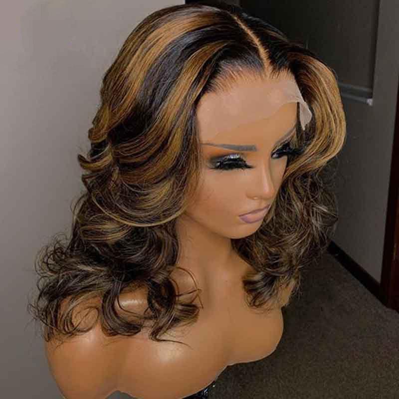 PAFF Выделите парик фронта шнурка Свободной волны Ombre блондинка Выделено парики Preplucked полного шнурок человеческих волосы Парики Цветной