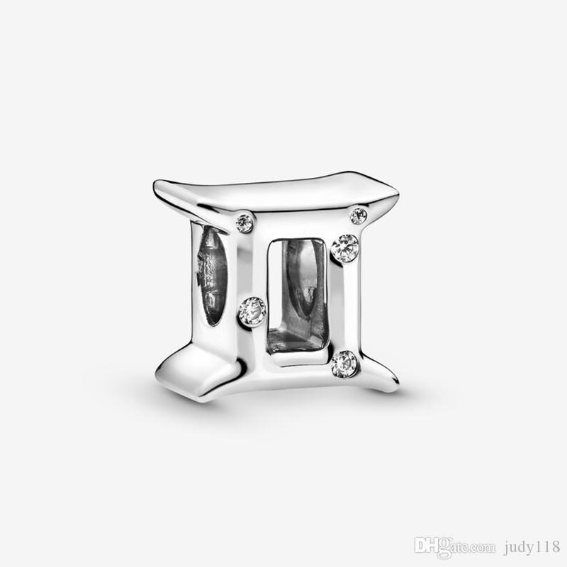 Perles Sparkling Gemini Zodiac Charm argent 925 Fit Style Pandora Charms Bracelets Colliers Diy pour les femmes de cadeau de Noël 798428C01