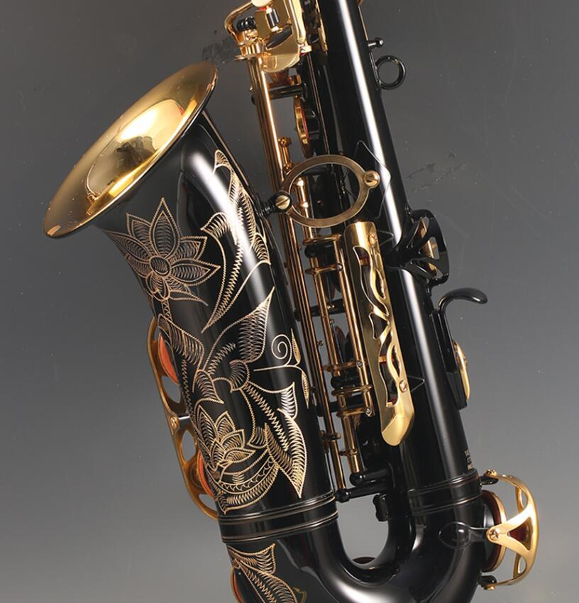 الترويجية الساكسفون ألتو الأسود سبائك الذهب ألتو ساكس براس آلات موسيقية مع حالة لسان الحال القصب الملحقات