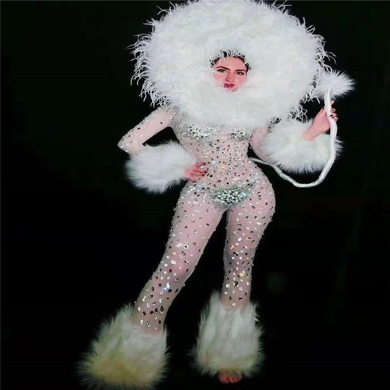 T46 Branco equipamento sexy strass macacão feminino ver através de cristal collant festa a fantasia cantor pole dance vestido do desgaste bodysuit meias desgaste