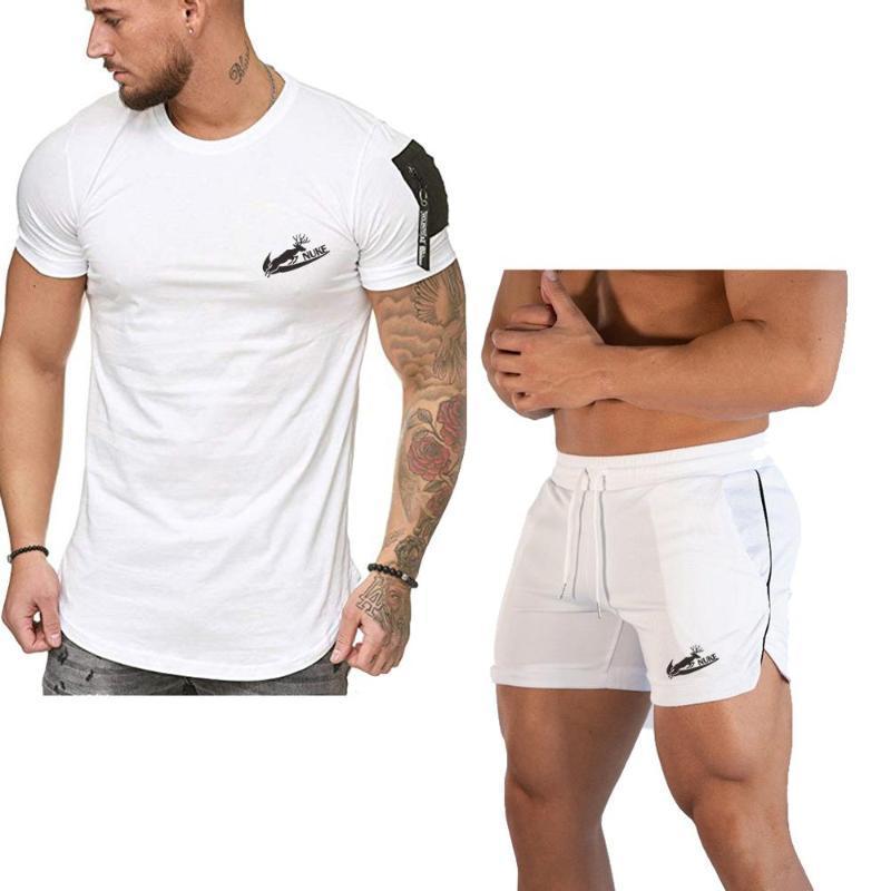 Marka Erkekler Vücut Geliştirme Egzersiz Boş kısa kollu tişört Erkek Nefes Mesh Hızlı Kuru Spor Jogger Plaj Kısa Pantolon