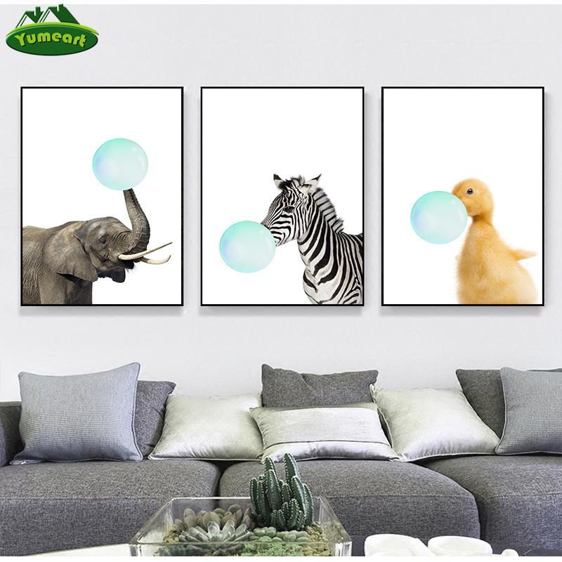 Burbuja de goma de mascar elefante cebra pato animales Pósteres Lienzos Arte de la pintura decorativa pared del cuarto de niños Decoración estilo nórdico