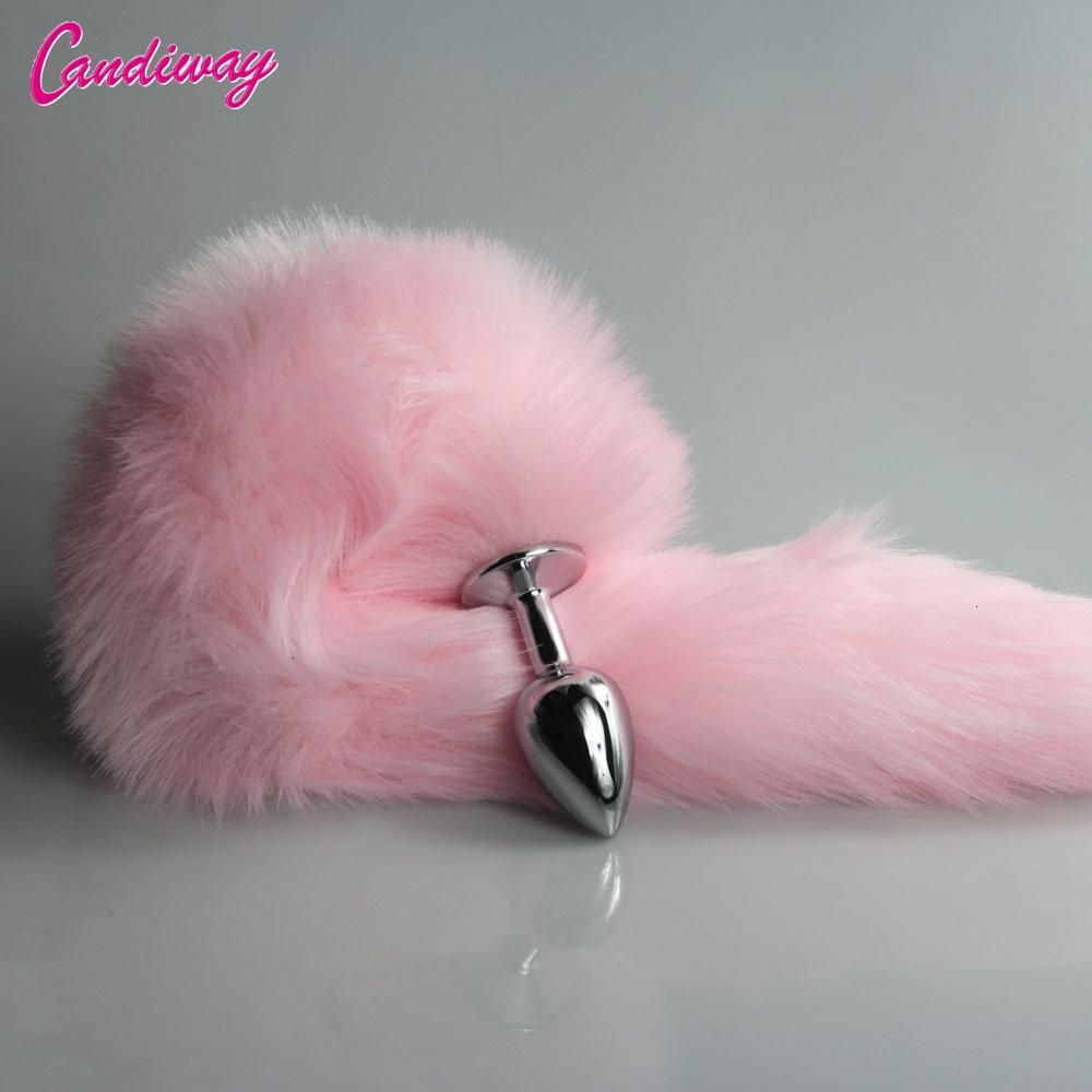 pink Fox/Dog Tail Metal Furry Anal Plug Sexy Toys Butt Plug BDSM Flirt Anus Plug For Women WILD cat Tail Adult Toy roleplaying Y191030