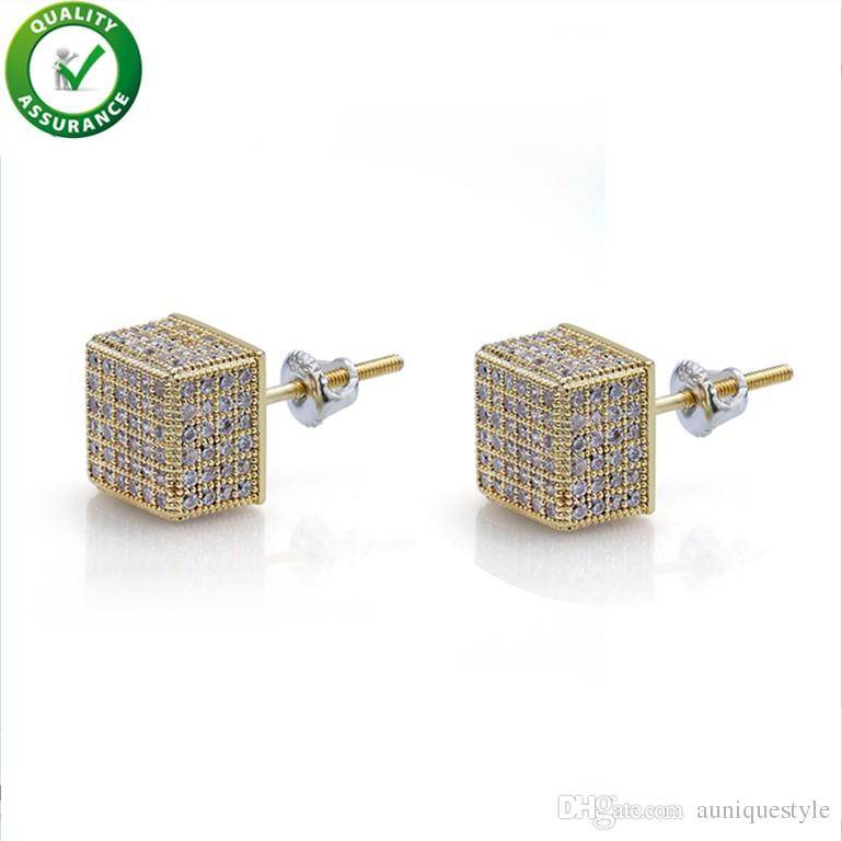 Hip Hop Designer Earrings Mens Luxury Earrings Fashion Jewelry Micro Pave Square CZ Gold Plated Stud Earings Iced Out Diamond Bling Crystal