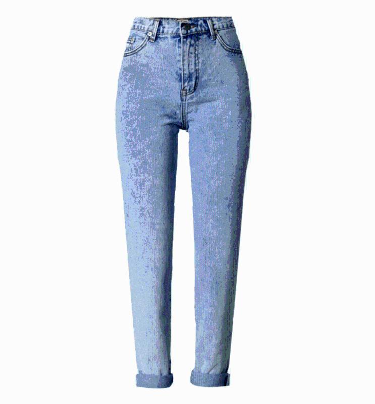 Light Blue Jeans Femme Mom taille haute boyfriend pour femmes décontractées longue en vrac droite