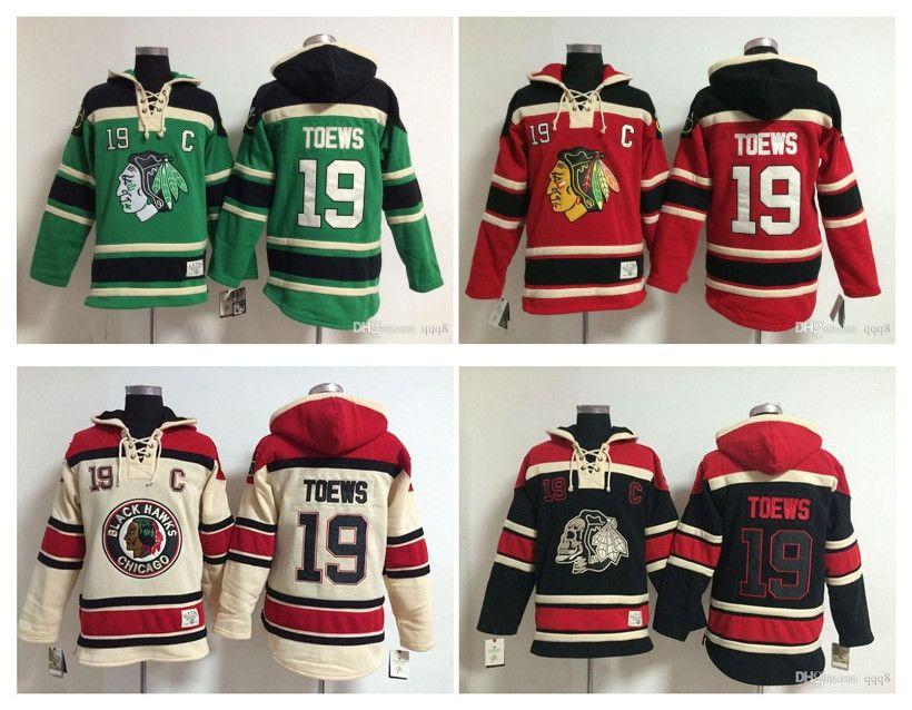 최고 품질 ! NHL Chicago Blackhawks 올드 타임 하키 유니폼 19 Jonathan Toews 까마귀 풀오버 스웨터 겨울 자켓 믹스 주문!