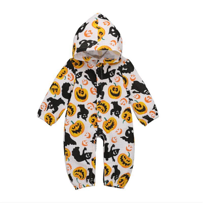 Halloween vêtements bébé fille imprimé citrouille Bouton capuche décontracté automne Romper enfants manches longues enfant en bas âge coton Jumpsuit un des morceaux