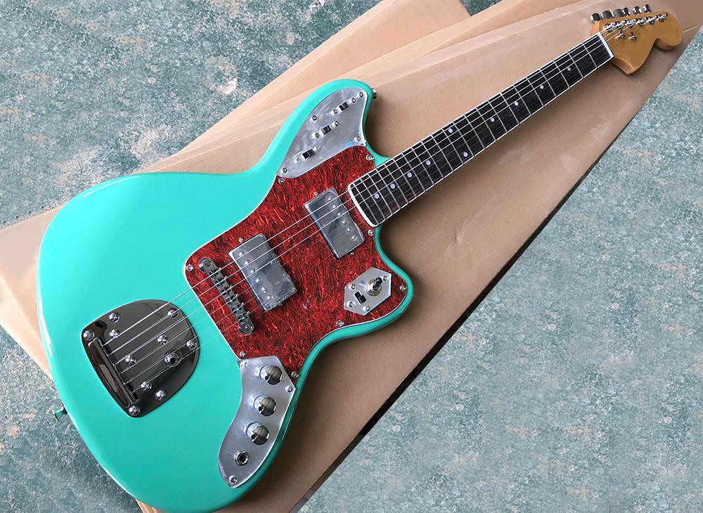 Guitarra eléctrica al por mayor de la fábrica verde con rojo perlado golpeador, diapasón de palo de rosa con la unión blanca, ofreciendo un servicio personalizado
