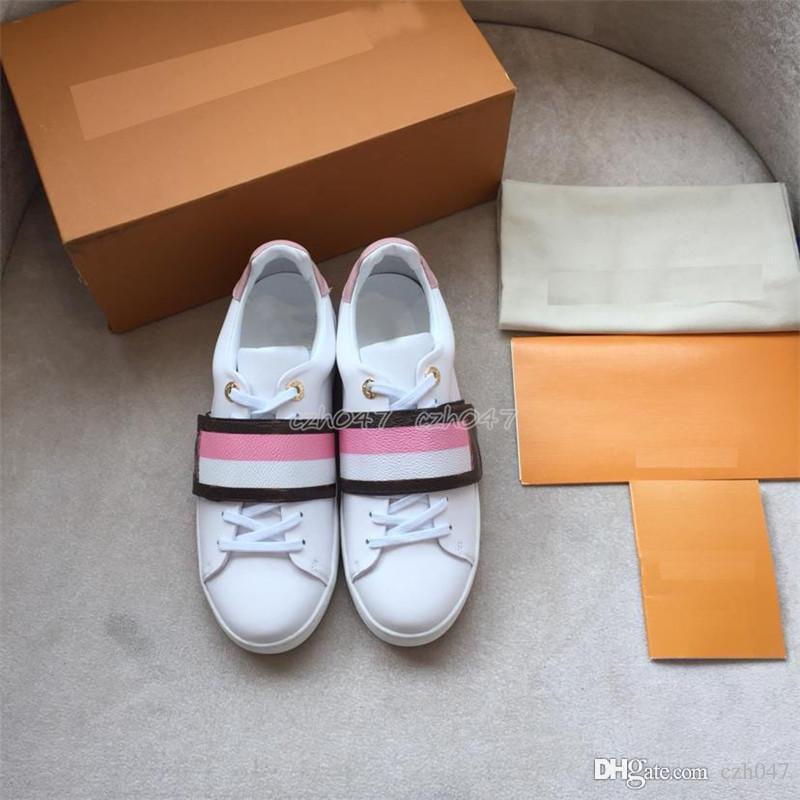 Klasik stil tasarımcı Ayakkabı ACE Işlemeli Kadın Hakiki Deri Tasarımcısı Sneakers Rahat Ayakkabılar boyutu 35-41
