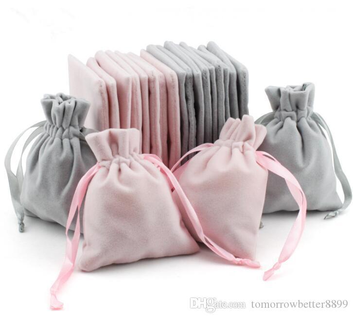 Bijoux de velours Sacs cadeaux avec cordon cordon étanche à la poussière de stockage Artisanat Bijoux cosmétique Emballage Boutique pour Pouches Acheter au détail