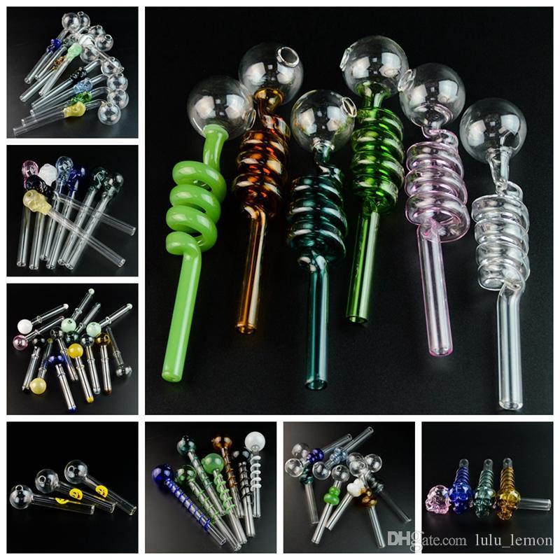 Venda Quente Colorido Pyrex Glass Burner Tubulações Mini Pequeno Handpipe Petróleo Nail Tubos De Fumar Acessórios DHL Frete Grátis