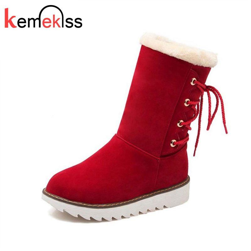 KemeKiss 4 cores Tamanho 34-43 Mulheres Mid Calf Flats Botas Cross Strap Metade Botas breve aquecimento Fur Shoes Por Inter Mulher Footwears