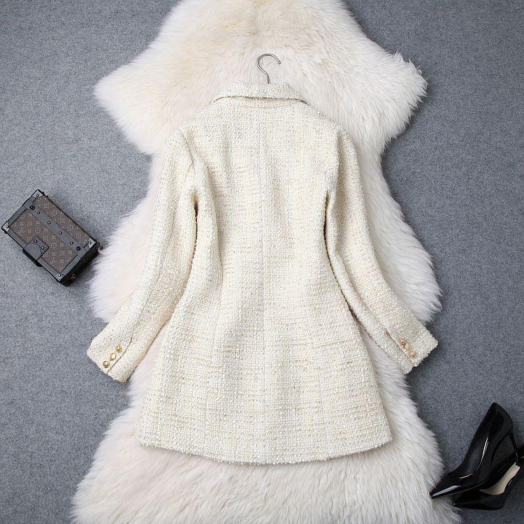 Bouton de gros- femmes à double boutonnage en métal manches longues col cranté Veste Laine Blazer en tweed Manteau