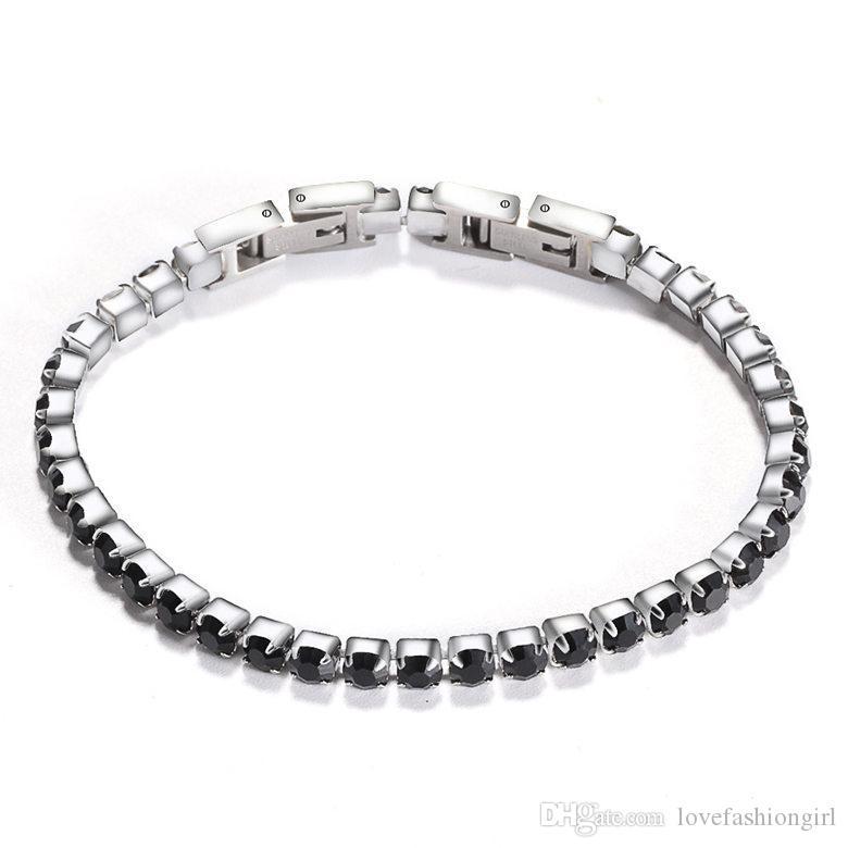 Bracelets de tennis bijoux nouvelle mode haute qualité zircon femme bracelets brèves en acier inoxydable femme bracelets bijoux
