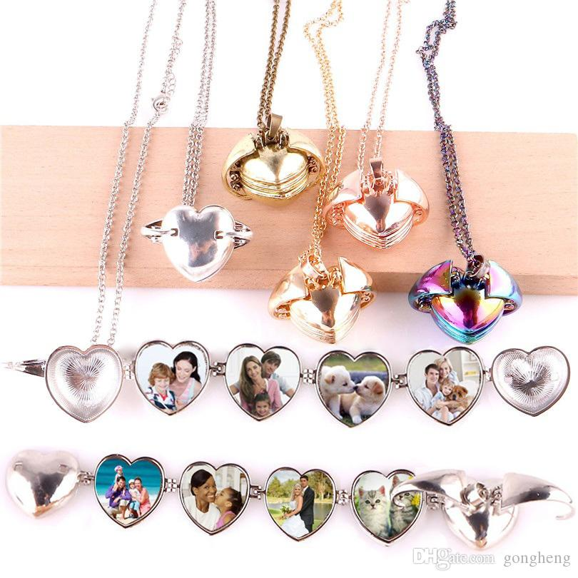 Peach Heart Smooth Lucky Angel Wings Photo Album Box Cage Locket Pendant Necklace Memory Charm for unisex