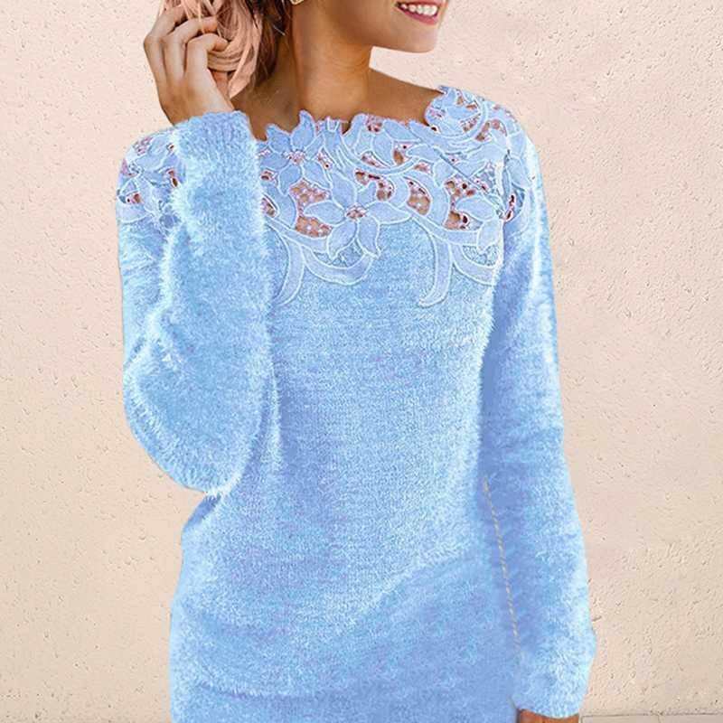 Женщины Sexy кружева выдалбливают свитера с длинным рукавом пуловер свитер Топы Дамы O шеи перемычку моды Knitwears Твердотопливные Свитера