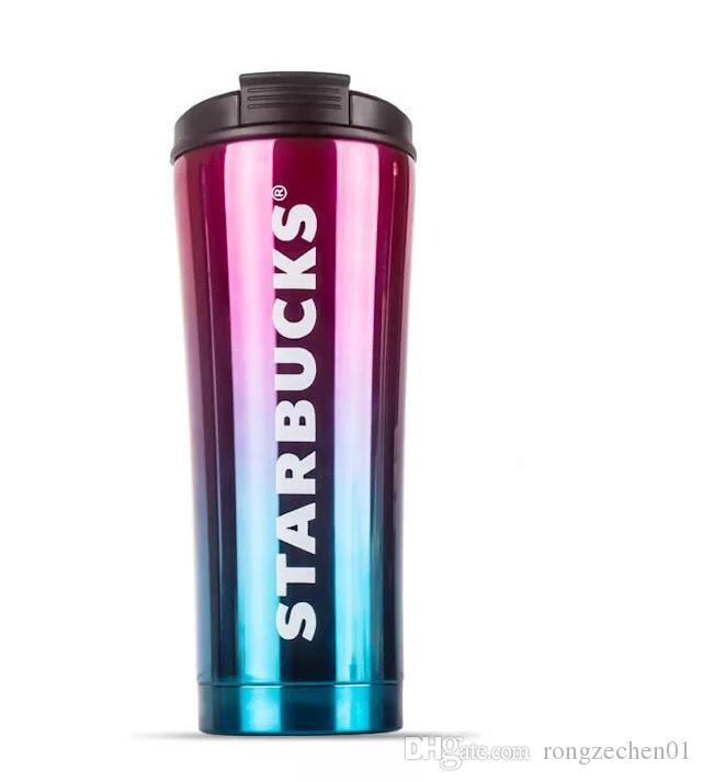 2019 Starbucks Folding Straw Cup High Grade 304 Double Layer Vacuum Stainless Steel Starbucks Coffee Cup Gradient Milk Cup Mug Travel Coffee Mugs