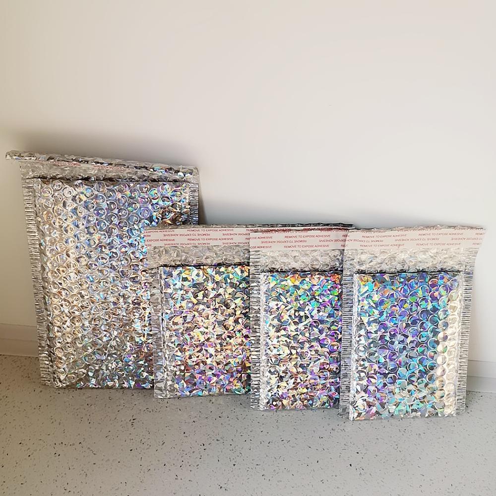 50PCS / paquete de láser Plata El empaquetado de la burbuja Envío Mailer láser lámina de plástico sobre completado bolsa de regalo bolsa sobre de correo