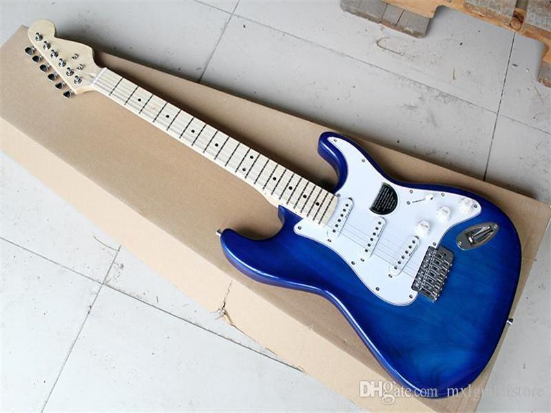 Şeffaf Mavi Gövde Beyaz Pickguard ile Elektro Gitar İsteği olarak Özelleştirilmiş edilebilir