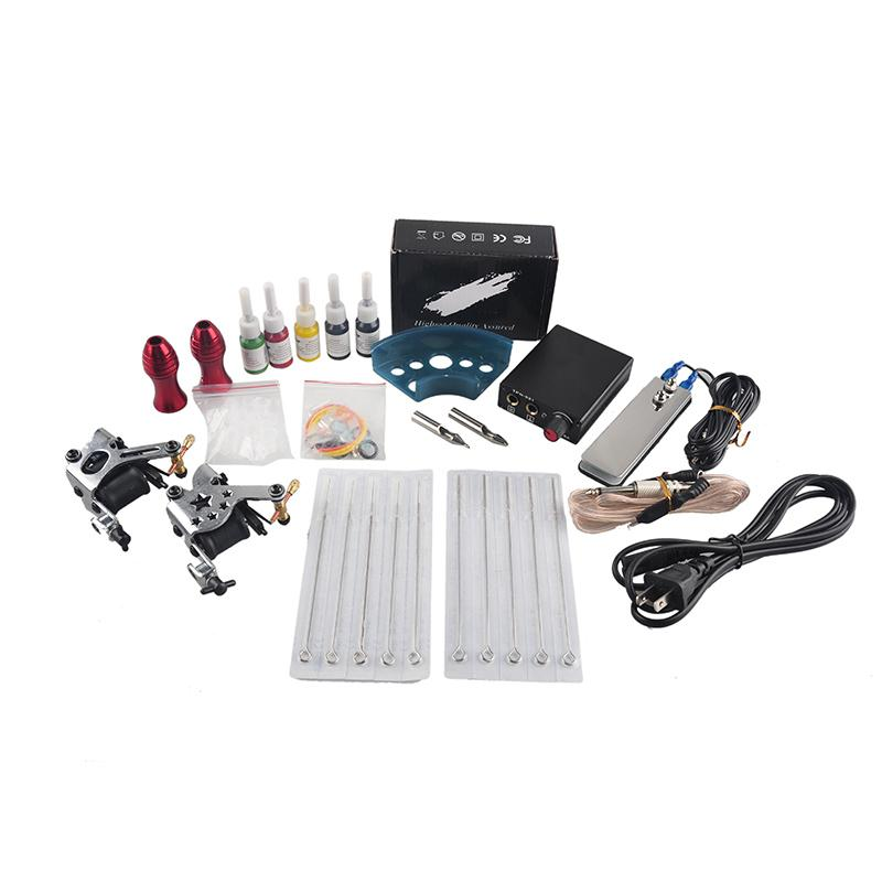 Complete Tattoo Gun Kits 2 Machines Guns 5 Colors Inks Sets 10 Pieces Needles Power Supply Tips Grips Tattoo Guns Kits for Beginner