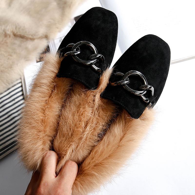 Réel Rabbit Fur Flats Women Chain Mocassins Mocassins Winter Velvet Taille Plus 42/43 Chaussures pour femmes Fluffy Fur Espadrilles Femme
