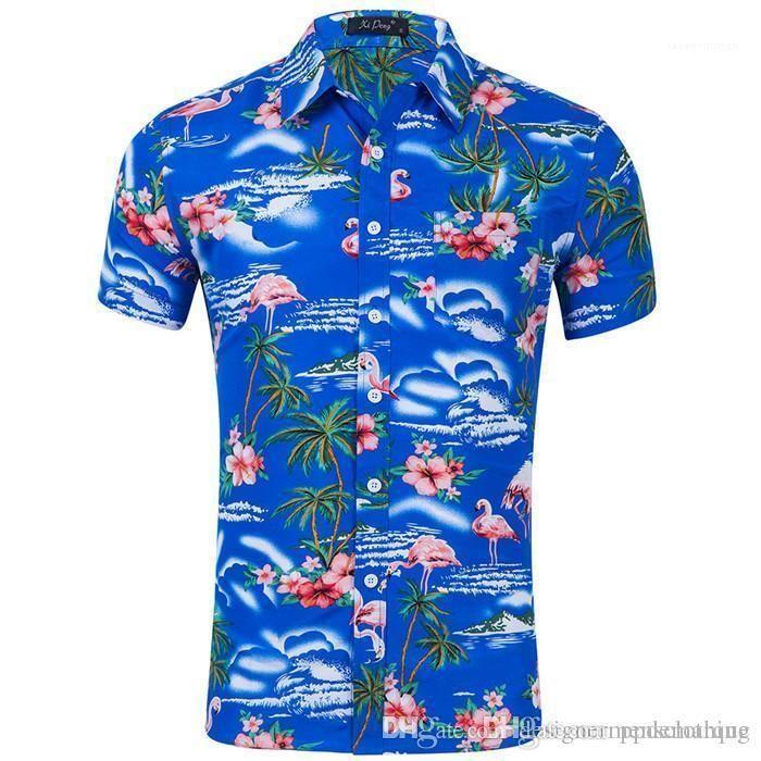 Vire-down Polyester Mens Casual camisas coloridas Roupas Mens Fashion Flamingo Imprimir manga curta camisas