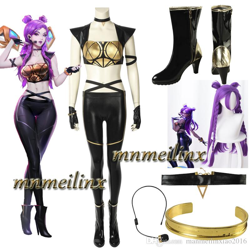 Women Black Faux Leather Cosplay Costume Dress Outfit Party Custom Fancy Suit