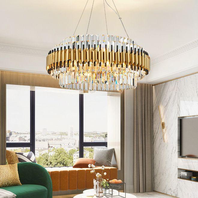 Novo design de luxo lustre de cristal de aço inoxidável iluminação ouro lustres levaram luzes lâmpadas penduradas para estar quarto sala de jantar quarto
