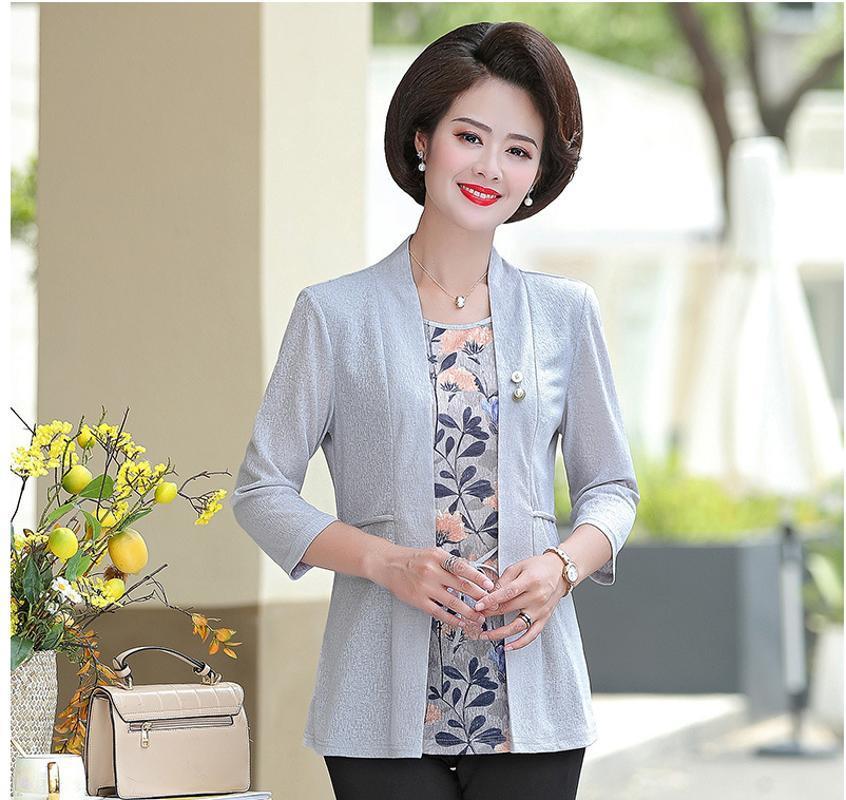 2019 Autumn Plus Size donne di mezza età insieme a due pezzi del cappotto casual 40-50 anni femminile pullover superiore F506
