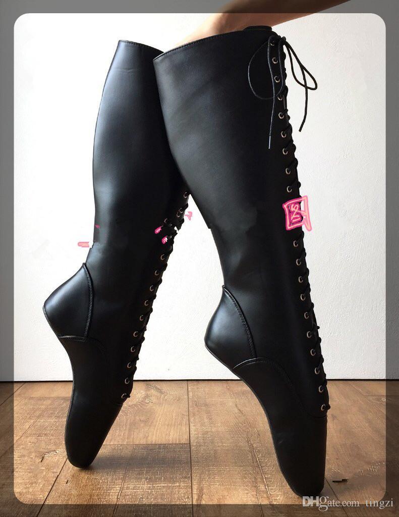 Black Pointed Toe Ballet Boots Women Sexy Wedge Hoof Sole Heelless Pinup Ballet Cross-tied Fetish Spike Heels Knee-High Boots