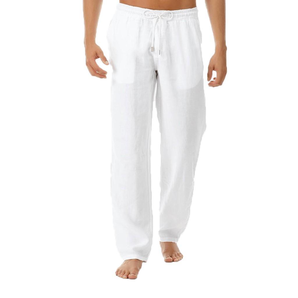 Erkek Pantolon Yaz Yeni Stil Basit Ve Şık Saf Pamuk Ve Keten Pantolon Pantolon Yüksek Kalite Casual Yaz Pantolon # LR3