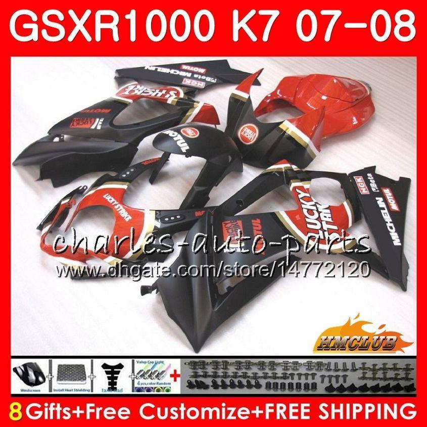 Cuerpo para Suzuki GSXR-1000 Piso Lucky Stock GSX-R1000 GSXR1000 07 08 Carrocería 12HC.27 GSX R1000 07 08 K7 GSXR 1000 2007 2008 Kit de carenado completo