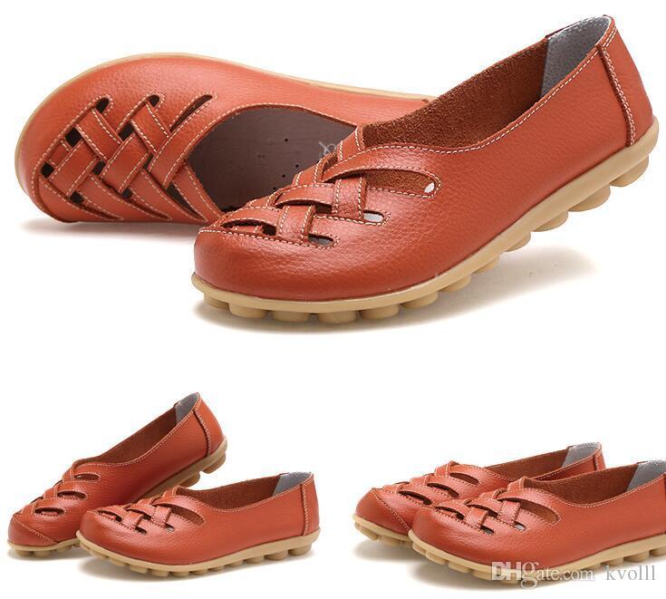 scarpe casual madre delle donne piane antiscivolo scarpe da infermiera della spiaggia di estate della molla sandali vuoti 18 colori