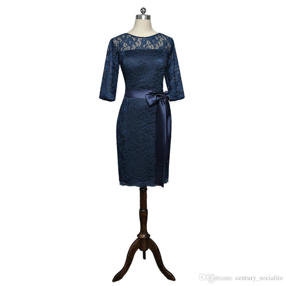 großhandel hotsale spitze brautmutterkleider knielangen lange Ärmel mantel  reißverschluss schärpen marineblau hochzeitsgast kleider nach maß von