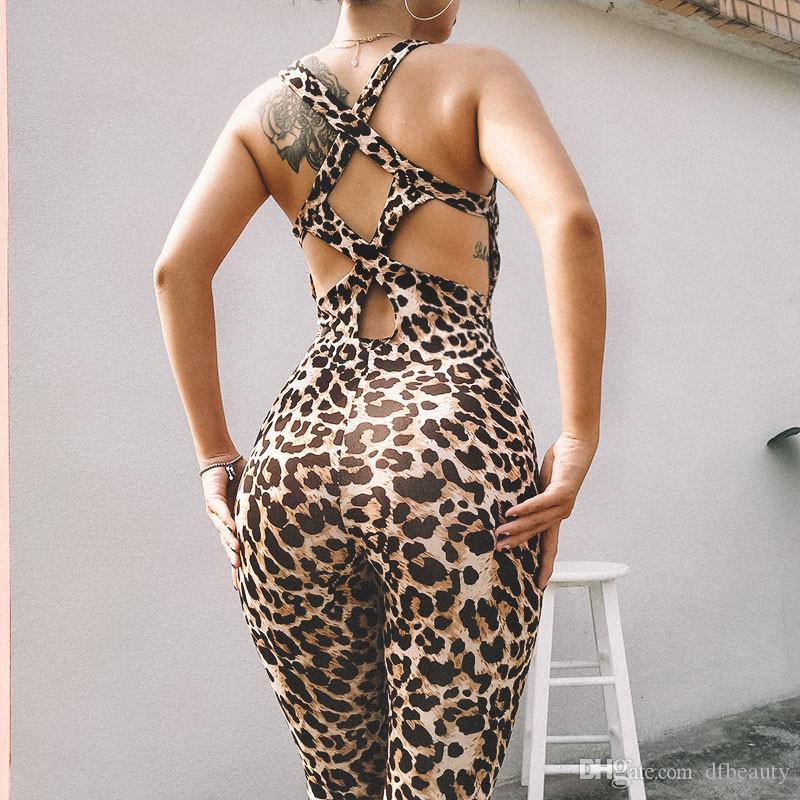 2019 Moda Mujeres Chándal Conjunto de Yoga Gimnasio Sexy Leopardo Deporte Fitness Hollow Jumpsuit Conjunto de Yoga Traje de Ropa de Fitness de una sola pieza
