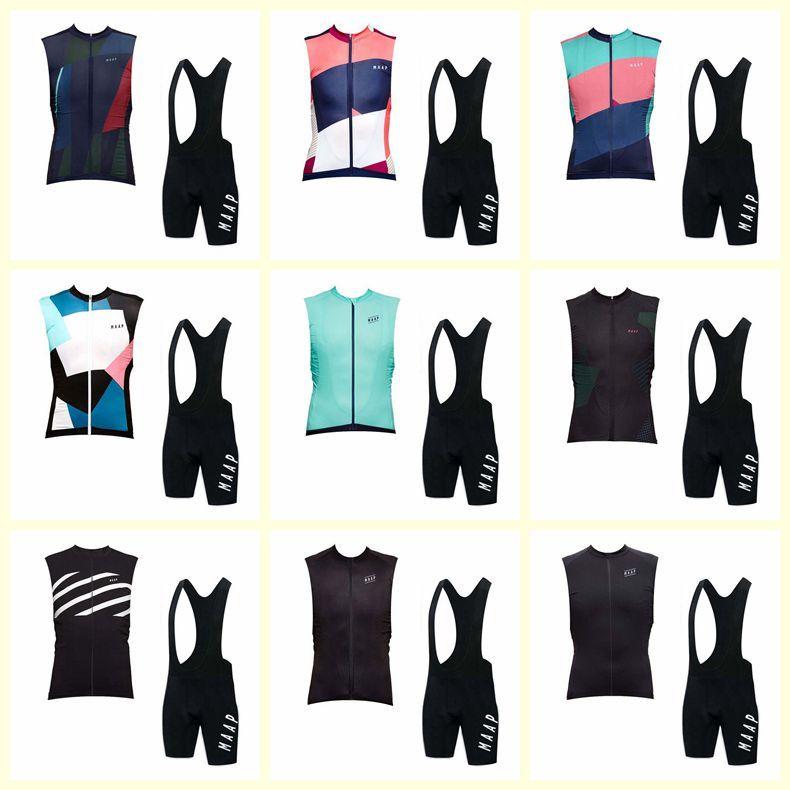 MAAP Equipo Ciclismo Sin mangas Jersey Jersey Chaleco Pantalones cortos BIB Sets Cómodo para los hombres A prueba de viento Transpirable Deportes al aire libre U81910