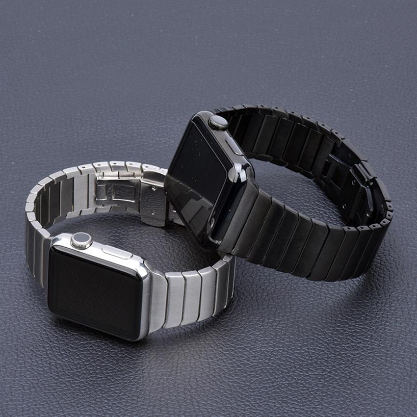 애플 시계 시리즈 1/2/3 42mm의 38mm 메탈 밴드의 경우 Iwatch 4/5 40MM의 44MM에 대한 iWatch 밴드 링크 팔찌를위한 단단한 스테인레스 스틸