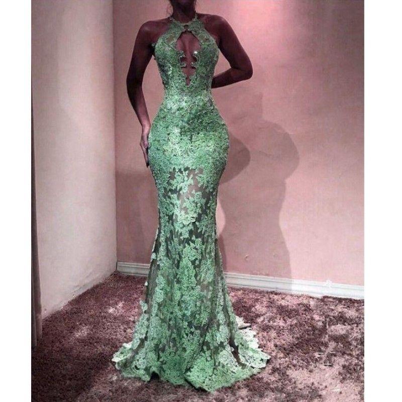 New Mint Green Prom Dresses 2019 Lace Halter Meramid Long Abiti da sera formale Occasioni speciali vestido gala